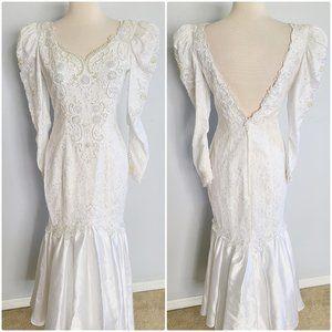 VINTAGE 80s lace beaded mermaid wedding gown